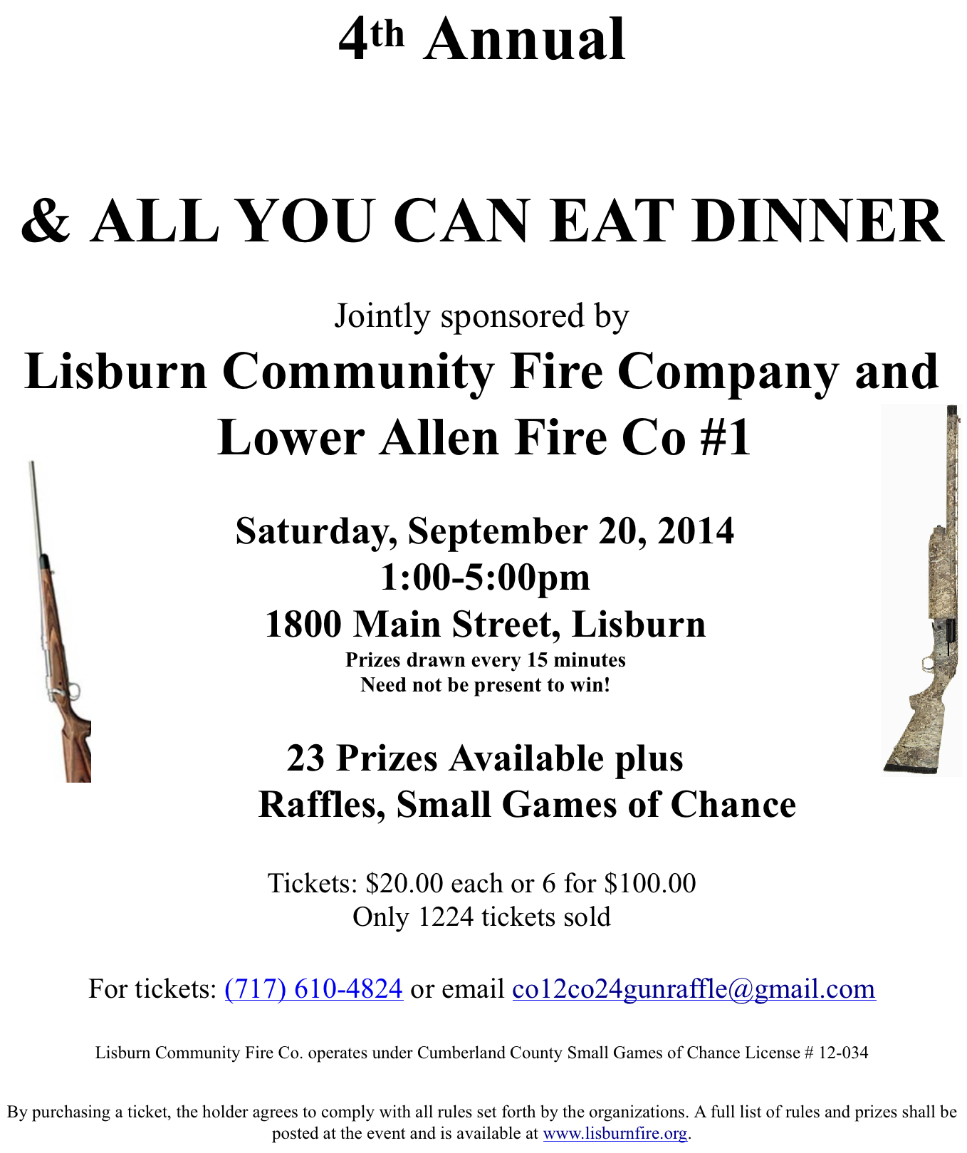gun raffle tickets available  u2013 lisburn community fire company